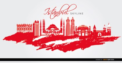 Istanbul Landmarks Painted Red Background Free Vector