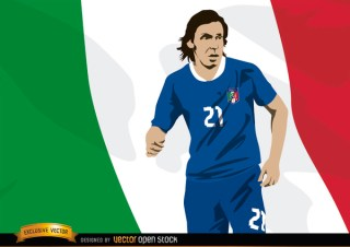 Italy Footballer Andrea Pirlo with Flag Free Vector