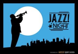 Jazz Trumpeter Silhouette City Night Skyline Free Vector