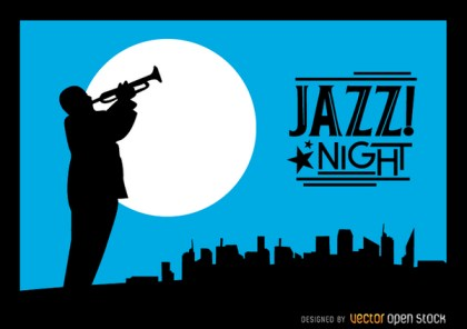 Jazz Trumpeter Silhouette City Night Skyline Free Vector