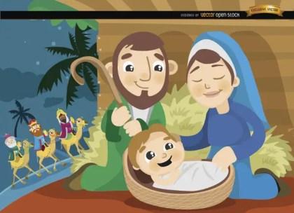 Joseph Mary Jesus Wise Men Cartoon Free Vector