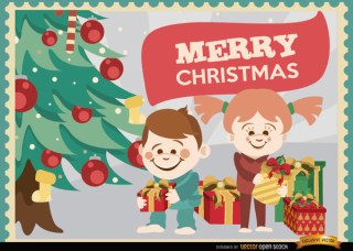 Kids Opening Christmas Gifts Background Free Vector