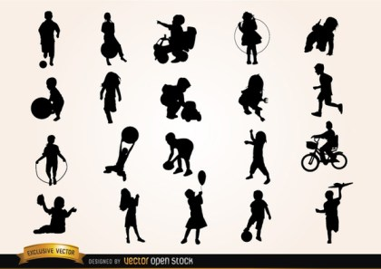 Kids Playing Silhouettes Free Vector