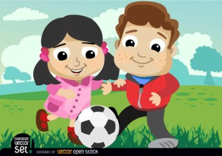 Kids Playing with Soccer Ball Free Vector