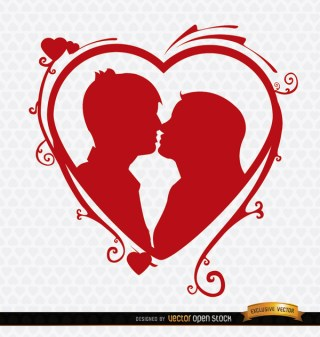 Kissing Couple Heart Swirls Background Free Vector