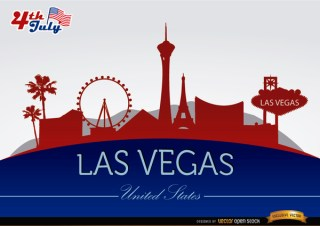 Las Vegas City Silhouettes on July 4Th Free Vector