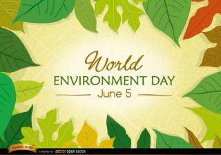 Leaves Surrounding World Environment Day Free Vector