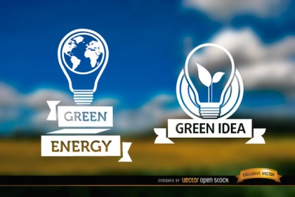 Light Bulb Label Ecology Blurred Background Free Vector