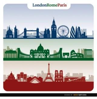 London Rome Paris Skyline Banners Free Vector
