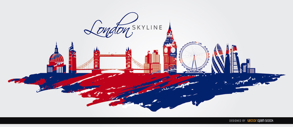 London Skyline Painted Flag Background Free Vector