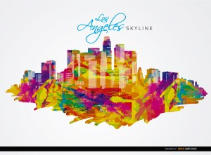 Los Angeles City Buildings Colorful Background Free Vector
