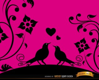 Love Birds Pink Floral Background Free Vector