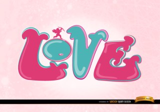 Love Cupid Pink Wallpaper Free Vector