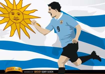 Luis Suarez with Uruguay Flag Free Vector