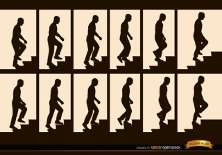 Man Climbing Stairs Sequence Frames Silhouettes Free Vector