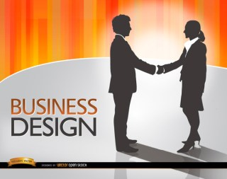Man Woman Shake Hands Deal Free Vector