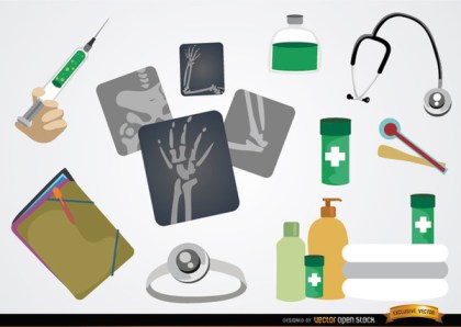Medical Cartoon Element Set Free Vector