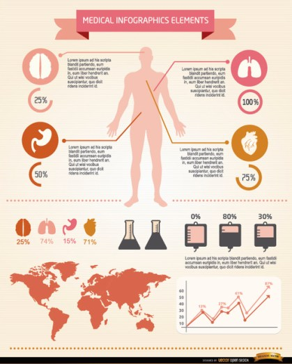 Men Medical Infographics Elements Free Vector