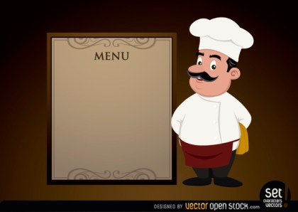 Menu Template with Chef Free Vector