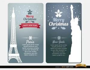 Merry Christmas Cards Paris New York Free Vector