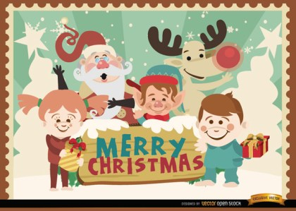 Merry Christmas Cartoon Characters Background Free Vector