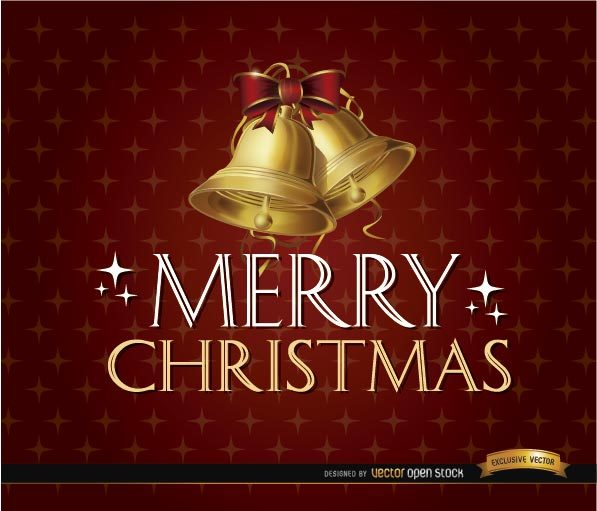 Merry Christmas Glitters Bells Background Free Vector