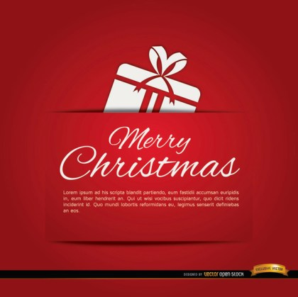 Merry Christmas Red Gift Card Free Vector