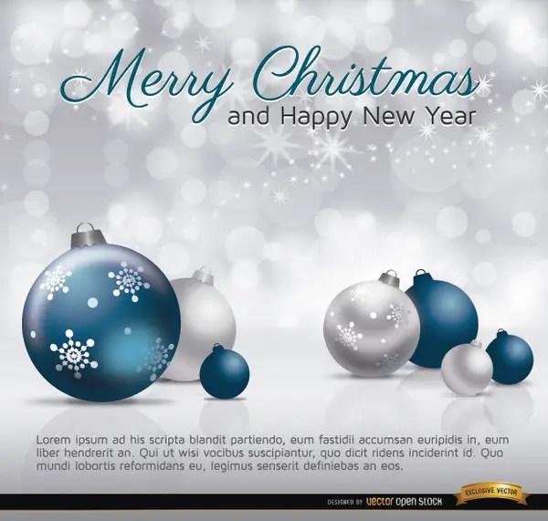 Merry Christmas Silver Blue Balls Card Free Vector