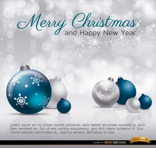 Merry Christmas Silver Blue Balls Card Free Vector