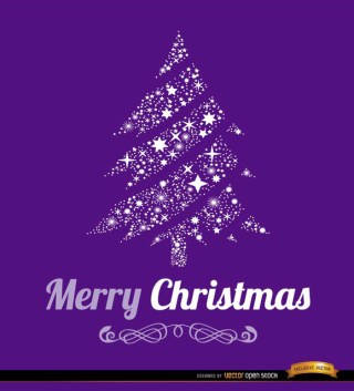 Merry Christmas Tree Background Free Vector