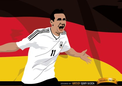 Miroslav Klose with Germany Flag Free Vector