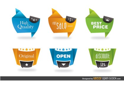 Modern Origami Style Labels Free Vector