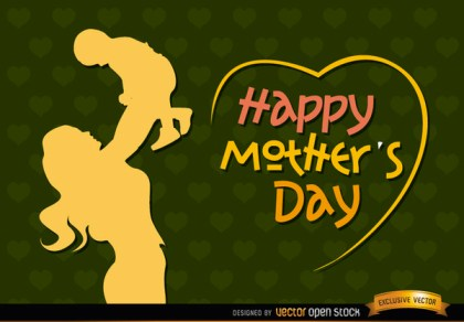 Mom and Baby Vintage Mothers Day Free Vector