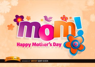 Mom Logo with Flowers In Mothers Day Free Vector