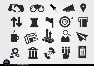 Monetary Business Icons Set Free Vector