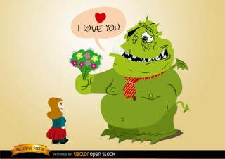 Monster Love with Flowers For Girl Free Vector
