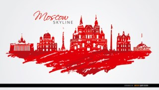 Moscow Skyline Painted Flag Colors Free Vector
