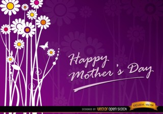 Mothers Day Flowers Gift Card Free Vector