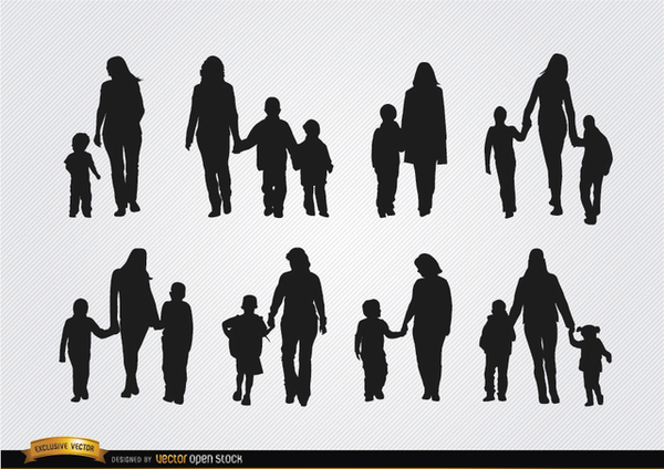 Mothers Walking with Sons Silhouettes Free Vector