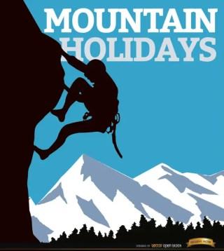 Mountain Climb Man Background Free Vector