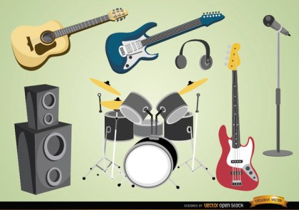 Musical Instruments and Devices Free Vector
