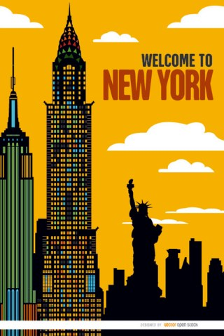 New York Buildings Sunset Background Free Vector