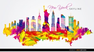 New York City Colorful Background Free Vector