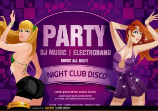 Nightclub Disco Party Girls Flyer Free Vector