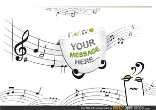 Notes Staff with Message Space Free Vector