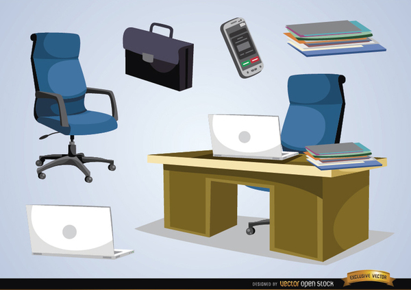 Office Furniture and Objects Free Vector