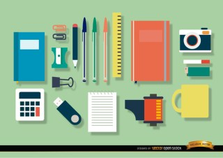 Office Objects Icon Set Free Vector