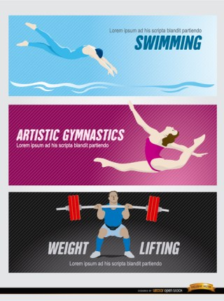 Olympic Sports Headers Free Vector