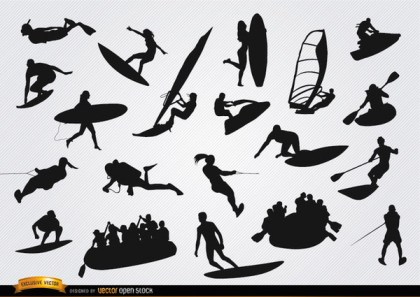 On Water Sports Silhouettes Set Free Vector