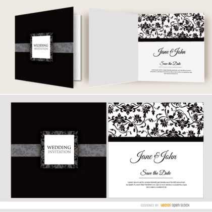 Open Black Floral Wedding Invitation Free Vector